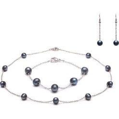 Bransoletki damskie: Zestaw z pereł w kolorze czarnym - naszyjnik, kolczyki, bransoletka