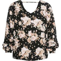 Tunika w kwiaty bonprix czarny z nadrukiem. Czarne tuniki damskie eleganckie bonprix, w kwiaty, z dekoltem w serek. Za 59,99 zł.