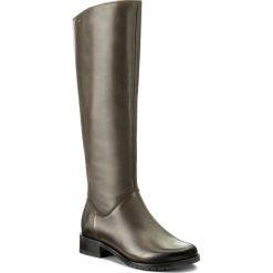 Oficerki EDEO - 2206-886 Oliwka. Zielone buty zimowe damskie Edeo, ze skóry, przed kolano, na wysokim obcasie, na obcasie. W wyprzedaży za 339,00 zł.