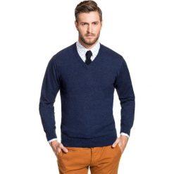 Sweter FABRIZIO SWGR000138. Niebieskie swetry klasyczne męskie Giacomo Conti, na jesień, m, z bawełny, dekolt w kształcie v. Za 149,00 zł.