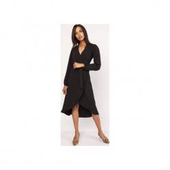 Asymetryczna, kopertowa sukienka, SUK160. Czarne sukienki asymetryczne marki Lanti, z asymetrycznym kołnierzem. Za 179,00 zł.