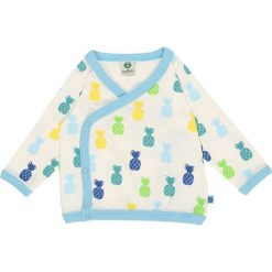 Swetry chłopięce: Småfolk ZGREEN BABY WRAP CARDIGAN WITH PINEAPPLE Kardigan strong blue