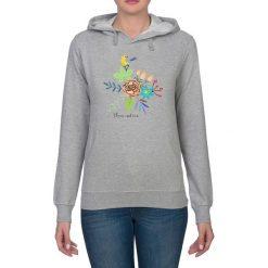 Bluza damska. Kwiaty i ptaki. Szare bluzy rozpinane damskie Pakamera, w kwiaty, z kapturem. Za 119,00 zł.