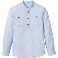 Koszula z wywijanymi rękawami bonprix jasnoniebieski melanż. Białe bluzki dziewczęce z krótkim rękawem marki bonprix, z klasycznym kołnierzykiem. Za 54,99 zł.