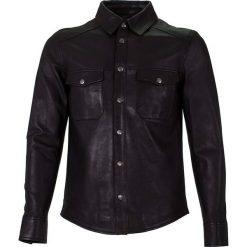 Koszule męskie na spinki: Skórzana koszula w kolorze czarnym