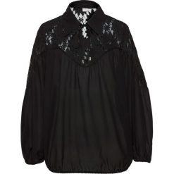 Bluzka z kołnierzykiem bonprix czarny. Czarne bluzki z odkrytymi ramionami marki bonprix, z koronki. Za 49,99 zł.