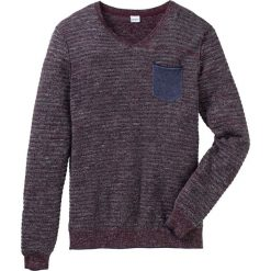 Sweter z dekoltem w serek Regular Fit bonprix bordowy melanż. Czerwone swetry klasyczne męskie marki bonprix, l, melanż, z materiału, z dekoltem w serek. Za 49,99 zł.
