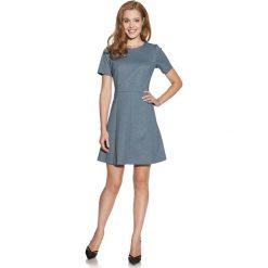 Sukienki: Ciemno Szara Sukienka w Delikatne Kropki z Krótkim Rękawem