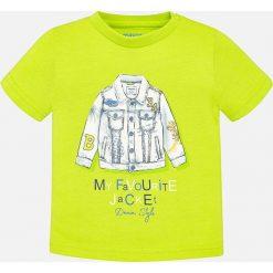 Mayoral - T-shirt dziecięcy 68-98 cm. Żółte t-shirty chłopięce Mayoral, z aplikacjami, z dzianiny, z okrągłym kołnierzem. Za 54,90 zł.