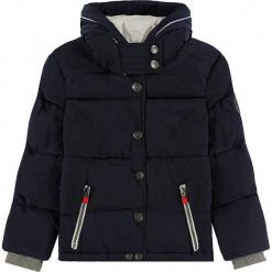 Kurtka zimowa w kolorze granatowym. Białe kurtki dziewczęce zimowe marki Marc O'Polo Junior, z nadrukiem, z okrągłym kołnierzem, z długim rękawem. W wyprzedaży za 172,95 zł.