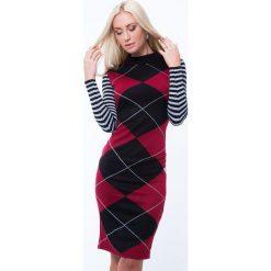 Sukienka z półgolfem we wzory czerwono-czarna MP32218. Czarne sukienki z falbanami Fasardi, m. Za 79,20 zł.