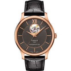 PROMOCJA ZEGAREK TISSOT Tradition Automatic Open Heart T063.907.36. Czarne zegarki męskie marki TISSOT, ze stali. W wyprzedaży za 2622,40 zł.