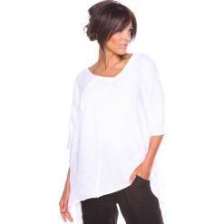 """Bluzki asymetryczne: Lniana koszulka """"Lys"""" w kolorze białym"""