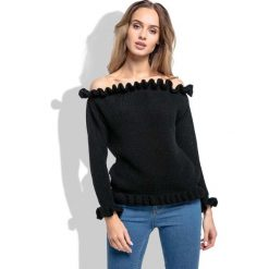 Czarny Sweter z Dekoltem Typu Carmen. Czarne swetry klasyczne damskie Molly.pl, uniwersalny, z falbankami. Za 99,90 zł.
