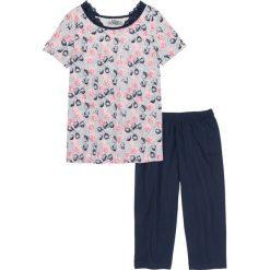 Piżamy damskie: Piżama ze spodniami 3/4 bonprix ciemnoniebiesko-jasnoszary melanż z nadrukiem