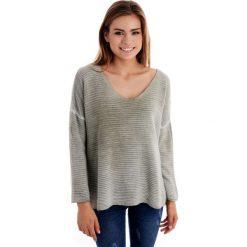 Sweter - 31-2116 MILIT. Szare swetry klasyczne damskie Unisono, uniwersalny, z materiału. Za 79,00 zł.