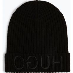 HUGO - Wełniana czapka – Unisex-X537, czarny. Czarne czapki damskie HUGO, z wełny. Za 249,99 zł.