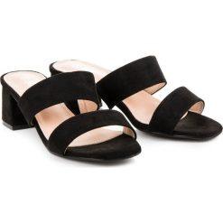 Chodaki damskie: Czarne zamszowe klapki AUBREE czarne