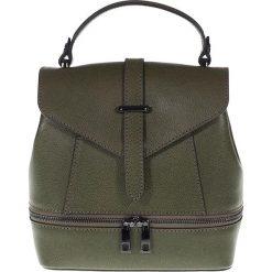 """Plecaki damskie: Skórzany plecak """"Stacy"""" w kolorze khaki – 20 x 22 x 13 cm"""