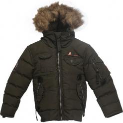 Kurtka zimowa w kolorze khaki. Brązowe kurtki chłopięce zimowe marki Peak Mountain, prążkowane. W wyprzedaży za 195,95 zł.