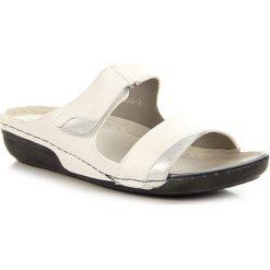 Chodaki damskie: Białe klapki damskie komfortowe na rzep Jezzi