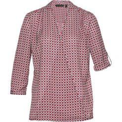 Bluzka bonprix biały z nadrukiem. Białe bluzki asymetryczne bonprix, z nadrukiem, z kopertowym dekoltem. Za 74,99 zł.