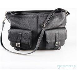 Skórzana torba z kieszeniami. Czarne torebki klasyczne damskie Pakamera, ze skóry. Za 280,00 zł.