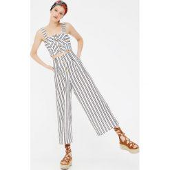 Spodnie z wysokim stanem: Spodnie culotte z wysokim stanem w paski