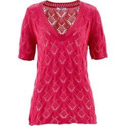 Sweter ażurowy, krótki rękaw bonprix różowy hibiskus. Czerwone swetry klasyczne damskie bonprix, z dekoltem w serek. Za 44,99 zł.