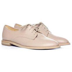 Buty wizytowe męskie: Skórzane półbuty w kolorze jasnoróżowym