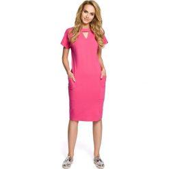 MUSETTA Sukienka ołówkowa z ozdobną stójką - fuksja. Niebieskie sukienki balowe marki ARTENGO, z elastanu, ze stójką. Za 129,99 zł.