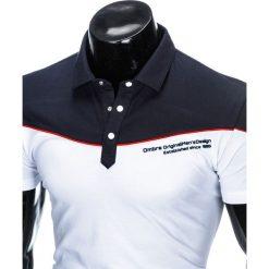 Koszulki polo: KOSZULKA MĘSKA POLO BEZ NADRUKU S878 – GRANATOWA/BIAŁA