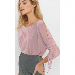 Koszulka oversize z dżetami. Brązowe bluzki longsleeves marki Orsay, s, z dzianiny. Za 69,99 zł.