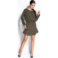 Sukienki: Oliwkowa Sukienka Wyjściowa z Falbanką