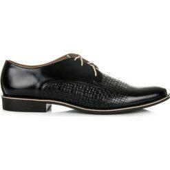 Derby męskie: Skórzane czarne eleganckie męskie półbuty