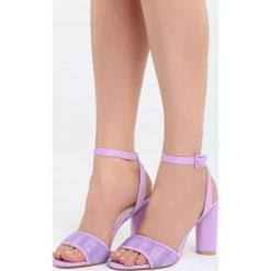 Fioletowe Sandały Third Party. Fioletowe sandały damskie na słupku marki Born2be, z materiału, na wysokim obcasie. Za 89,99 zł.
