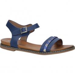Granatowe sandały letnie z ozdobnym plecionym paskiem Casu K18X10/N. Szare sandały damskie marki Casu. Za 39,99 zł.