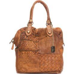 Torebki klasyczne damskie: Skórzana torebka w kolorze jasnobrązowym – 32 x 33 x 15 cm