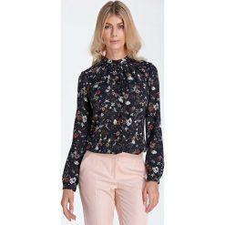 Bluzki damskie: Wizytowa Koszulowa Bluzka z Marszczeniami przy Stójce - Wzór Ecru