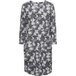 Sukienki dresowe: Sukienka dresowa w kwiaty bonprix czarno-biel wełny z nadrukiem
