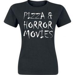 Pizza & Horror Movies Koszulka damska czarny. Czarne bluzki asymetryczne Pizza & Horror Movies, xxl, z nadrukiem, z okrągłym kołnierzem. Za 42,90 zł.