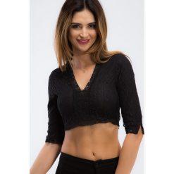 Czarna krótka koronkowa bluzka 21218. Czarne bluzki damskie marki Fasardi, l, z koronki, z krótkim rękawem. Za 69,00 zł.