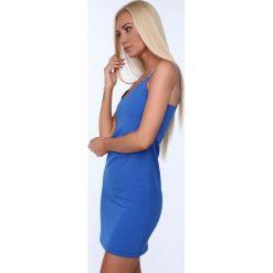 Sukienka na cienkich ramiączkach chabrowa 22405. Niebieskie sukienki marki Fasardi, l, na ramiączkach. Za 39,00 zł.