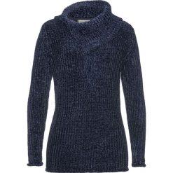 Sweter z szenili bonprix ciemnoniebieski. Niebieskie swetry klasyczne damskie bonprix, ze stójką. Za 89,99 zł.