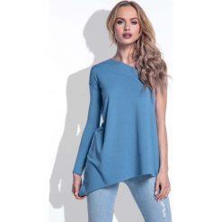 Bluzki damskie: Jeansowa Asymetryczna Bluzka na Jedno Ramię