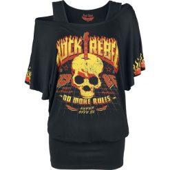 Rock Rebel by EMP When The Heart Rules The Mind Koszulka damska czarny. Czarne bluzki z odkrytymi ramionami Rock Rebel by EMP, l, z nadrukiem, rockowe, z dekoltem w łódkę. Za 79,90 zł.