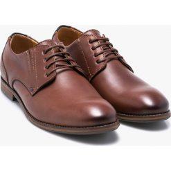 Wojas - Półbuty. Brązowe buty wizytowe męskie Wojas, z materiału, z okrągłym noskiem, na sznurówki. W wyprzedaży za 239,90 zł.