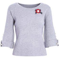Szary Sweter Never Easy. Szare swetry klasyczne damskie Born2be, l, z okrągłym kołnierzem. Za 74,99 zł.