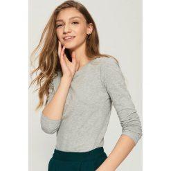 Bluzki damskie: Gładka bluzka - Jasny szar