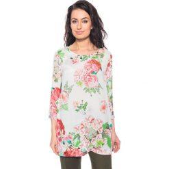 Bluzki asymetryczne: Jedwabna bluzka w kwiaty BIALCON
